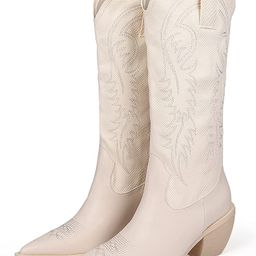 MissHeel Cowboy Boots for Women Embroidered Canvas Cowgirl Knee High Western Boots Pull-On | Amazon (US)