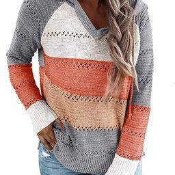 BLENCOT Women's Lightweight Color Block Hooded Sweaters Drawstring Hoodies Pullover Sweatshirts | Amazon (US)