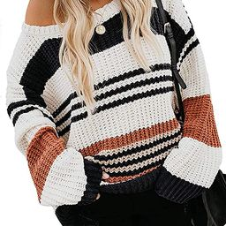 ZESICA Women's Long Sleeve Crew Neck Striped Color Block Casual Loose Knitted Pullover Sweater To... | Amazon (US)