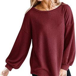 MEROKEETY Womens Long Balloon Sleeve Waffle Knit Tops Crew Neck Oversized Sweater Pullover | Amazon (US)