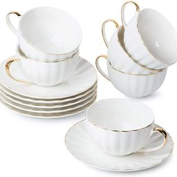 BTaT- Tea Cups and Saucers, Set of 6 (7 oz) with Gold Trim and Gift Box, Cappuccino Cups, Coffee ... | Amazon (US)
