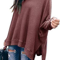 ANRABESS Women Turtleneck Batwing Sleeve High Low Hem Side Slit Waffle Knit Casual Loose Oversize... | Amazon (US)