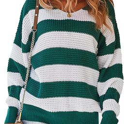 BROVEVA Women's Casual Long Sleeve Striped Color Block Loose Sweaters Fall Pullover Knit Jumper | Amazon (US)