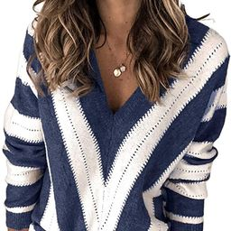 Asvivid Color Block Striped V Neck Sweater for Women Long Sleeve Knit Pullover Jumper Tops | Amazon (US)