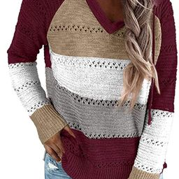 FEKOAFE Womens Striped Color Block Hoodies Fashion V Neck Knit Sweater Pullovers | Amazon (US)