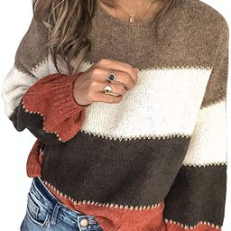 Aleumdr Womens Long Sleeve Color Block Sweater Casual Crewneck Pullover Fall Winter Knit Jumper T... | Amazon (US)