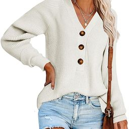 Ybenlow Womens V Neck Sweaters Long Sleeve Ribbed Knit Button Down Casual Loose Lightweight Fall ... | Amazon (US)