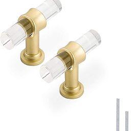 Haliwu/ Acrylic Knob, Acrylic Drawer Knobs Gold Knobs for Dresser T Bar Cabinet Knobs Kitchen Har... | Amazon (US)