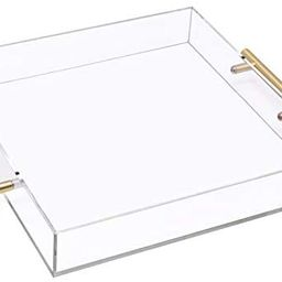12x12 Clear Acrylic Serving Tray with Gold Handle, Clear Square Plastic Serving Tray Food Serving... | Amazon (US)