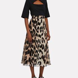 Leopard Pleated Georgette Midi Skirt | INTERMIX