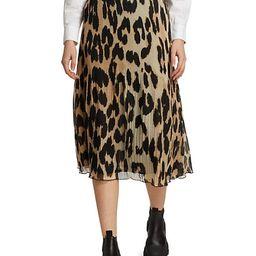 Leopard-Print Pleated Georgette Skirt | Saks Fifth Avenue