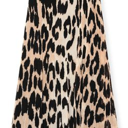 Pleated Georgette Skirt in Maxi Leopard | Hampden Clothing