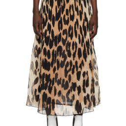 Beige & Black Georgette Pleated Skirt | SSENSE
