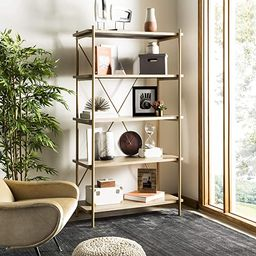 Safavieh Home Collection Rigby 5 Tier Etagere, Rustic Oak/Gold | Amazon (US)