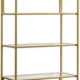 "Sauder 421434 International Lux Bookcase, L: 30.0"" x W: 14.49"" x H: 70.87"", Satin Gold Finish | Amazon (US)"