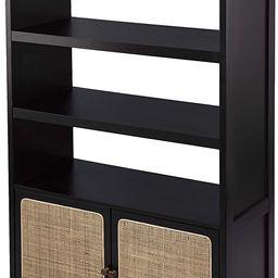 SEI Furniture Carondale Bookshelf, Standard, Black, Gold, Natural | Amazon (US)