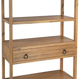 Butler Lark Rectangular Natural Wood 5-Tier Bookshelf with Storage Drawer | Amazon (US)