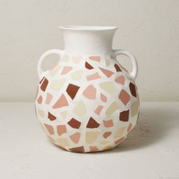 """12.5"""" x 11.5"""" Round Mosaic Vase with Handles White/Brown - Opalhouse™ designed with Jungalow™   Target"""