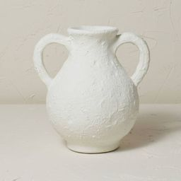 """9.5"""" x 9"""" Terracotta Vase with Handle Chalk White - Opalhouse™ designed with Jungalow™   Target"""