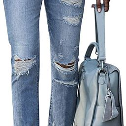 GOSOPIN Women Ripped Slim Fit Jeans Boyfriend Distressed Ankle Denim Pants | Amazon (US)