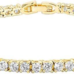 PAVOI 14K Gold Plated 3mm Cubic Zirconia Classic Tennis Bracelet   Gold Bracelets for Women   Siz...   Amazon (US)