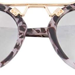 Womens Sunglasses Vintage Retro Round Mirrored Lens Horned Rim Sunglasses | Amazon (US)