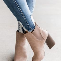Eliana Taupe Block Heel Open Toe Booties   The Pink Lily Boutique