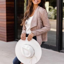 Sounds Of Laughter Taupe Suede Jacket | The Pink Lily Boutique
