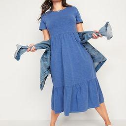 Garment-Dyed Fit & Flare Slub-Knit Midi Dress for Women | Old Navy (US)