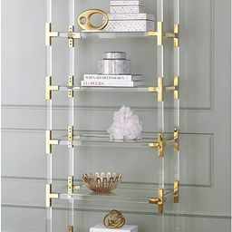 """Hanna 70 3/4"""" Clear Acrylic and Gold 6-Shelf Open Bookcase - 55 Downing Street 