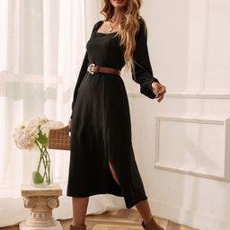 Solid Scoop Neck Slit A-line Dress Without Belt | SHEIN