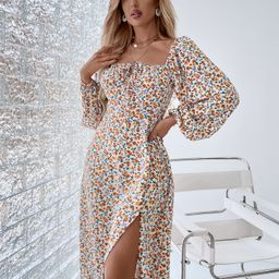 Ditsy Floral Tie Front Square Neck Lantern Sleeve Slit Thigh Dress | SHEIN