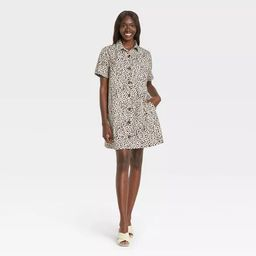 Women's Short Sleeve Shirtdress - Who What Wear™ Off-White Leopard Print | Target