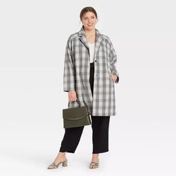 Women's Plaid Overcoat - A New Day™ Gray   Target