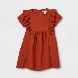 Toddler Girls' Ruffle Sleeve Dress - Cat & Jack™ Rust Orange | Target