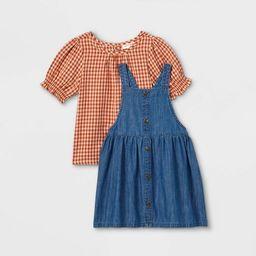Toddler Girls' Plaid Top & Chambray Skirtall Set - Cat & Jack™ Orange/Blue | Target