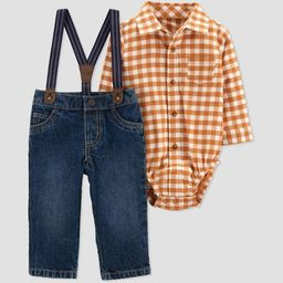 Baby Boys' Plaid Top & Bottom Set - Just One You® made by carter's Orange | Target