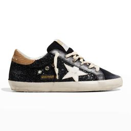 Golden Goose Superstar Navy Glitter With Snake Back And White Star Sneakers | Neiman Marcus