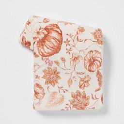 Pumpkin Printed Plush Throw Blanket with Sherpa Reverse Cream - Threshold™   Target