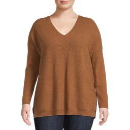 Terra & Sky Women's Plus Size Brushed V-Neck Sweater   Walmart (US)