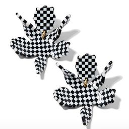 Small Paper Lily Earrings, Black Check | Neiman Marcus