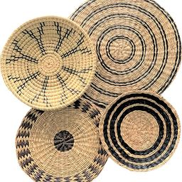 TODKEN Woven Wall Decor | Set of 4 Wicker Wall Baskets | Bohemian Wall Decor for Dining Room, Bed... | Amazon (US)