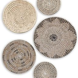 TheNamiCollection Woven Wall Basket Set - Five Hanging Seagrass Baskets | Decorative, Boho Styled... | Amazon (US)