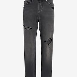 Mid Rise Ripped Roll Hem Boyfriend Jeans | Express