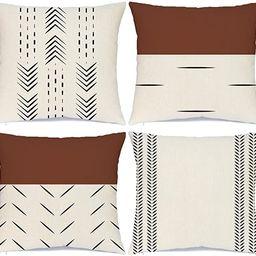 Hlonon Decorative Boho Throw Pillow Covers Set of 4 Modern Design Geometric Stripes Farmhouse Lin...   Amazon (US)