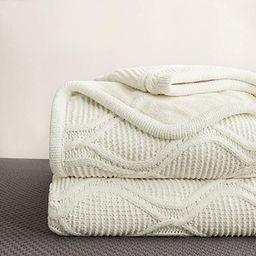 Longhui bedding Chenille Ivory White Sherpa Throw Blanket – Thick, Soft, Big, Cozy Knit Fleece ... | Amazon (US)