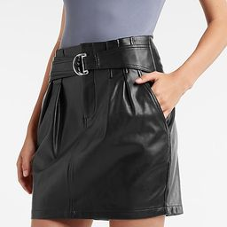 Faux Leather Belted Mini Skirt | Express