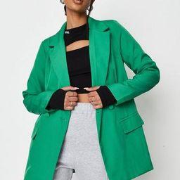 Green Tailored Longline Blazer | Missguided (UK & IE)