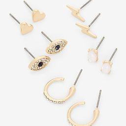 Set of Five Mixed Shape Gold Post Back Earrings | Express