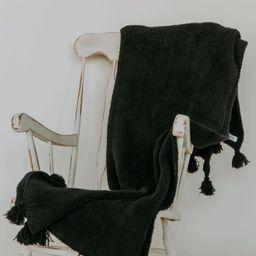 Onyx Black Tassel Throw | Sunset Snuggles